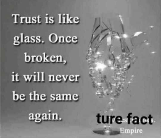 🖋 शेयरचैट Quotes - Trust is like glass . Once broken , it will never be the same again . ture fact Empire - ShareChat