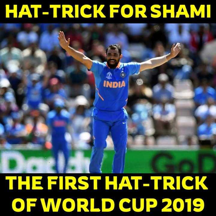 🏏ওয়ার্ল্ড কাপ বোলার - HAT - TRICK FOR SHAMI INDIA THE FIRST HAT - TRICK OF WORLD CUP 2019 - ShareChat