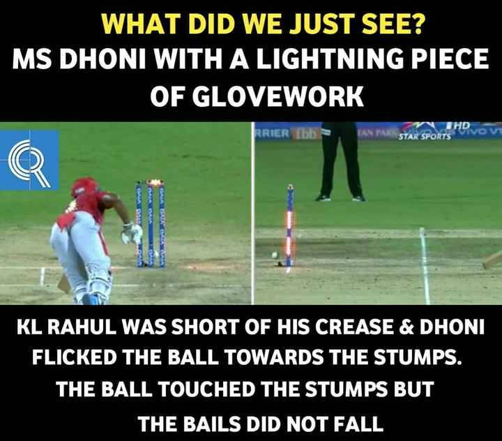 🏏CSK vs KXIP - WHAT DID WE JUST SEE ? MS DHONI WITH A LIGHTNING PIECE OF GLOVEWORK JHDVOM RRIER ibb STAR SPORTS OMA DAVAO VIVE KL RAHUL WAS SHORT OF HIS CREASE & DHONI FLICKED THE BALL TOWARDS THE STUMPS . THE BALL TOUCHED THE STUMPS BUT THE BAILS DID NOT FALL - ShareChat