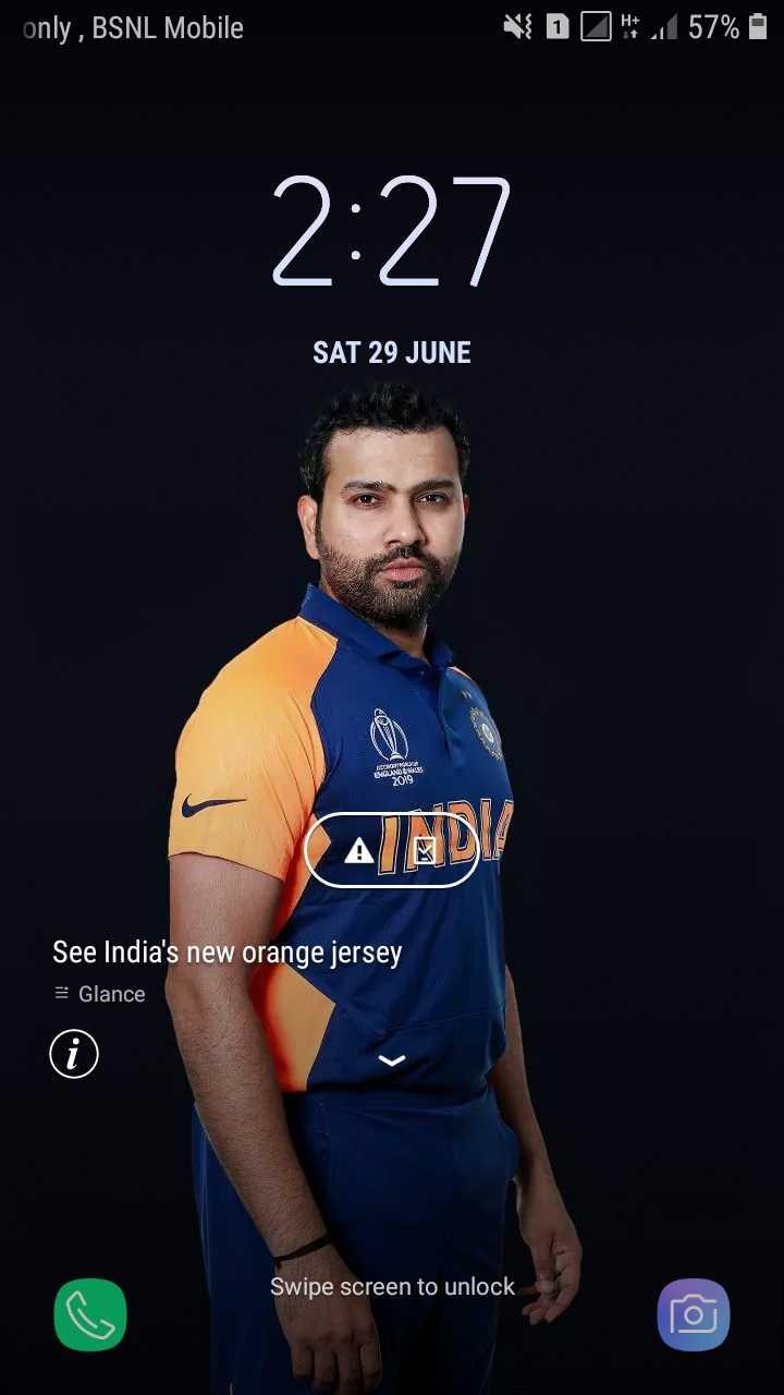🧡 bleed orange (ਇੰਡੀਆ ਟੀਮ ਦੀ ਨਵੀਂ ਜਰਸੀ) - only , BSNL Mobile DOH 1 57 % 2 : 27 SAT 29 JUNE DANS 2019 ALADI See India ' s new orange jersey 3 Glance ( Swipe screen to unlock - ShareChat