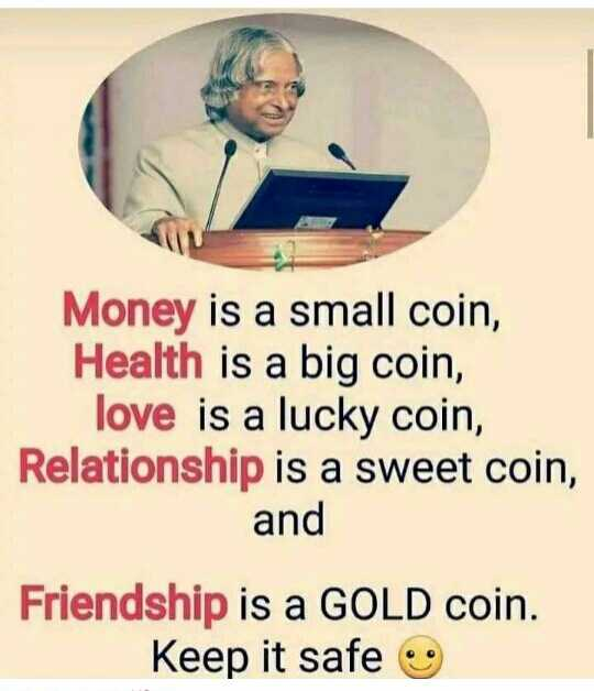 good n🕯ght - Money is a small coin , Health is a big coin , love is a lucky coin , Relationship is a sweet coin , and Friendship is a GOLD coin . Keep it safe - ShareChat