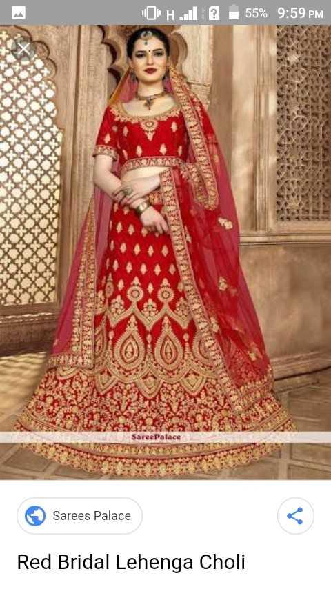 my life 💝 - CH . . . @ 55 % 9 : 59 PM Saree Palace Sarees Palace Red Bridal Lehenga Choli - ShareChat